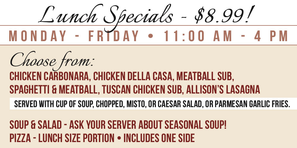 Lunch Specials Sept 2017